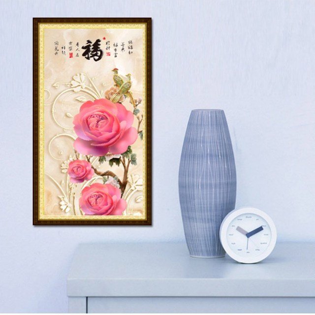 30*60cm 5D DIY Round Diamond Painting Cross Stitch Embroidery Flowers Home Decors