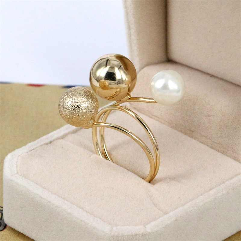 New Fashion Silver and Gold-Color Korean Elegant Women Lovely Girls Simulated Pearl Adjustable Opening Rings with Metal Balls