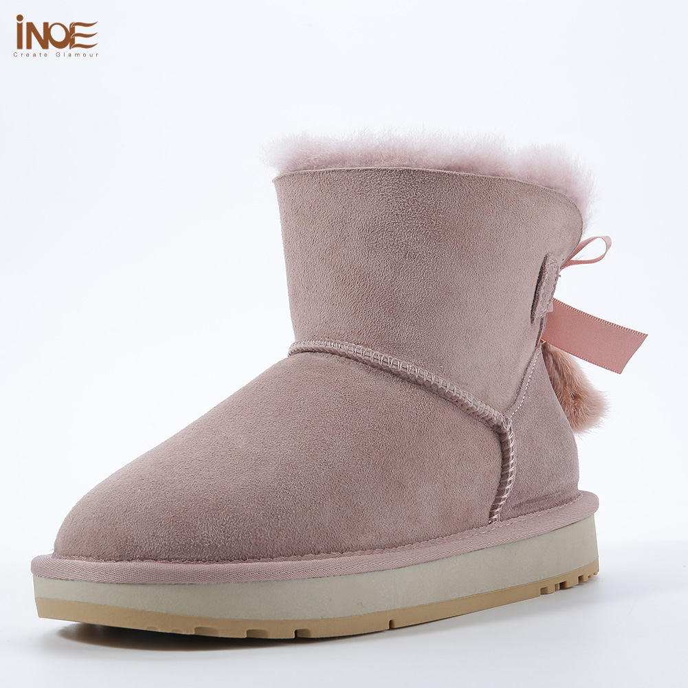 INOE Sheepskin Leather Wool Fur Lined Women Short Ankle Winter Suede Snow Boots with Bowknots Mink Fur Tassels Keep Warm Shoes - 4