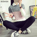 Aelorxin Sweater Women Thick Warm Women Sweaters and Pullovers Three-color Stitching Fashion Knitted Sweater Pull Femme