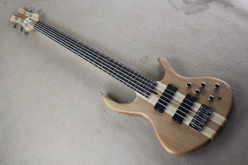 Free Shipping Factory custom shop New Top Quality custom neck through body bass guitar 5 string electric bass Natural color 914