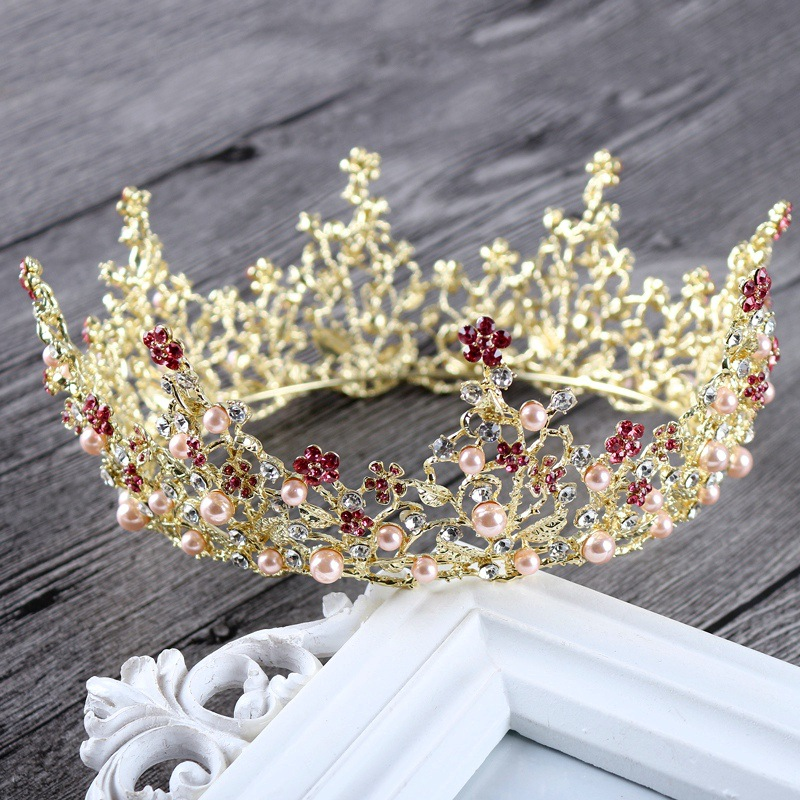 Gold Queen King Tiara Crowns Pearl Bridal Pageant Headpiece Wedding Hair Jewelry Accessories Prom Hair Ornaments
