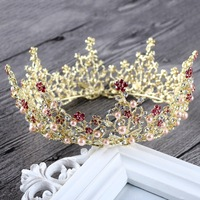Gold Queen King Tiara Crowns Pearl Bridal Pageant Headpiece Wedding Hair Jewelry Accessories For Women Prom Hair Ornaments