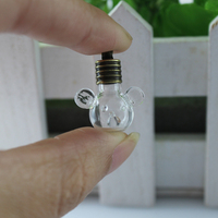 20PCS  6MM Bear Head with metal Cap Name On Rice Vial Jewelry tiny vials pendants Rice vial necklaces