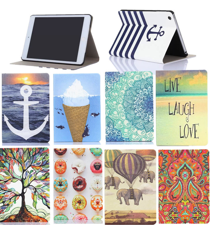 NEW Colorful Print 7.9 Mini Tablet Magnet Leather Case For iPad Mini 2 3 Smart Case Auto Sleep Function +protectors