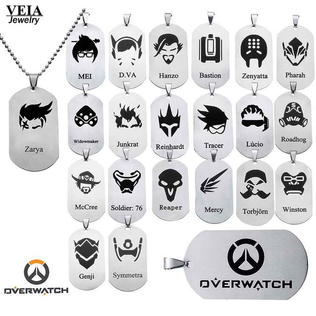 3bfbaedd14dfa 20 Styles Hot Game Overwatch Jewelry Pendants Necklace Tracer Reaper OW  Hero key Chains Entertainment Logo