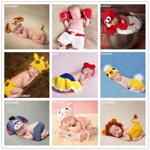 Dvotinst-accessoires de photographie nouveau-né | Ensemble de tenue de Bonnet d'animaux en tricot crocheté, accessoires Fotografia pour tournage de Studio, accessoires Photo