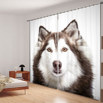Siberian Husky Luxury 3D Blackout Curtains Drapes For Kitchen Living room Bed room Window Curtains Hotel/Office Wall Tapestry