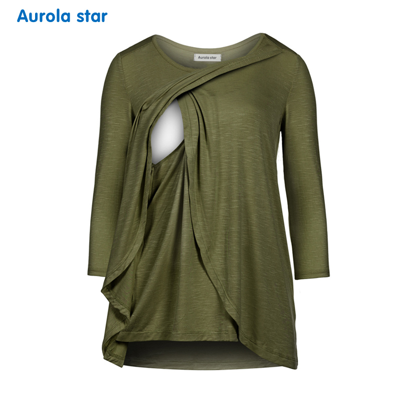 Women Pregnant Nusring Maternity Breastfeed Sweatshirt O-Neck Polka Dot Long Sleeve Solid Blouse Tops