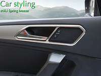 For VW Tiguan Mk2 2016 2017 L Allspace Chrome Inner Door Handle Cover Bezel Garnish Trim