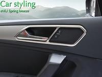 For VW Tiguan Mk2 2016 2017 L Allspace Chrome Inner Door Handle Cover Bezel Garnish Trim