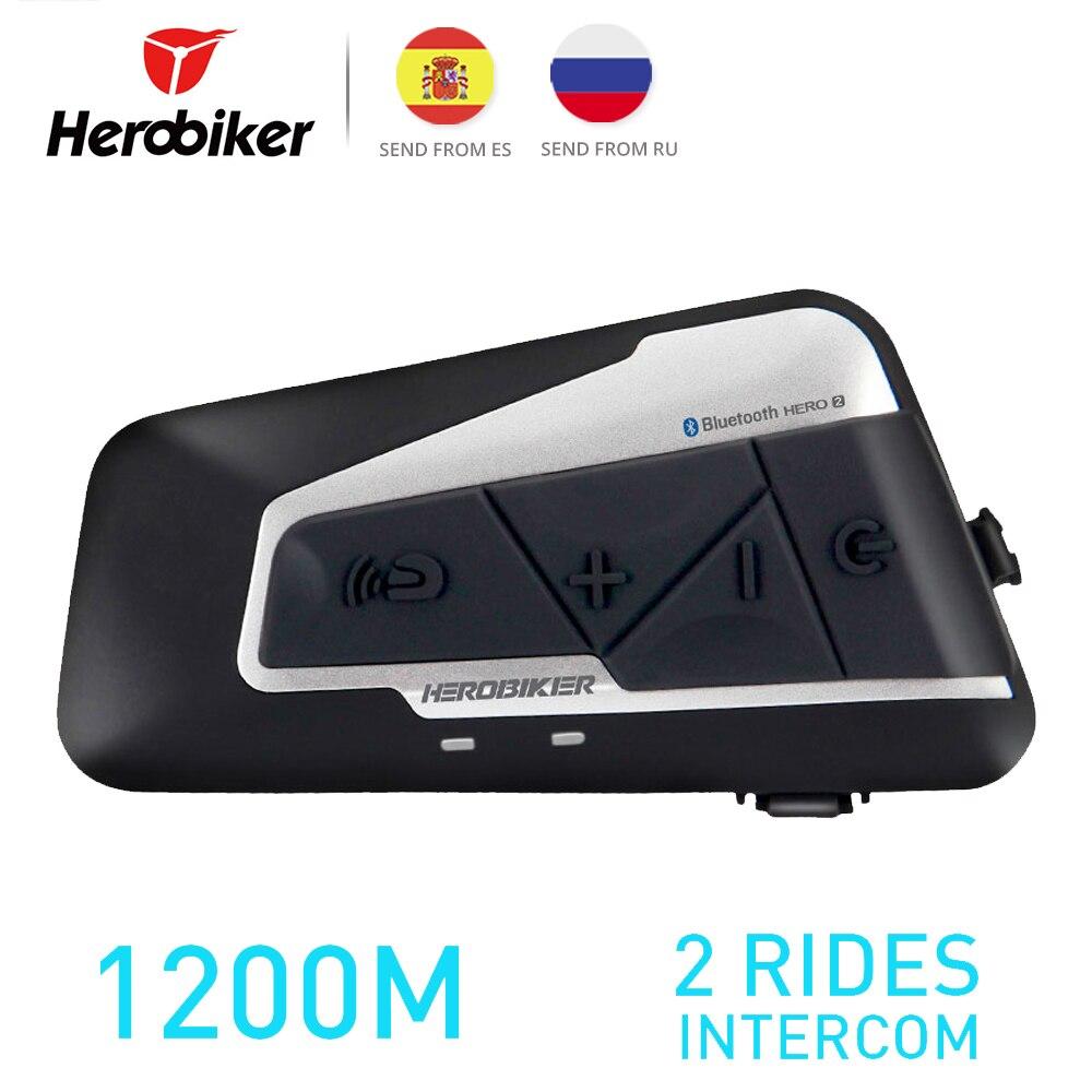 Herobiker 1200 m bt capacete da motocicleta intercom à prova dwireless água sem fio bluetooth moto fone de ouvido interfone com rádio fm para 2 passeios