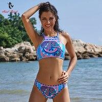 Ariel Sarah Halter Bikini Bloemen Vrouwen Badpak Hand Made Bandage Bikini Set Sexy Badpak Padded Beach Wear Maillot De Bain