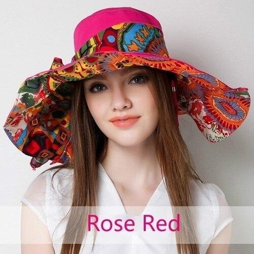 Las mujeres de Gran Visera de Sol Sombrero de Playa Boho Flojo Plegable de Doble Cara de Algodón Ajustable Casquillo Del Verano 038-418 B