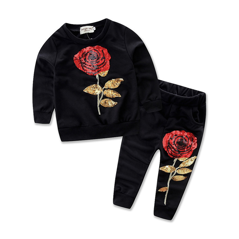 2017 Autumn Children Clothing Long Sleeve Shirts Pants With Sequin Rose Flowers Fashion Kids Clothes Girls Track Suit Chothes fall halloween clothes cutest pumpkin short sleeve orange black sequins suit children boutique long pants with matching bow set