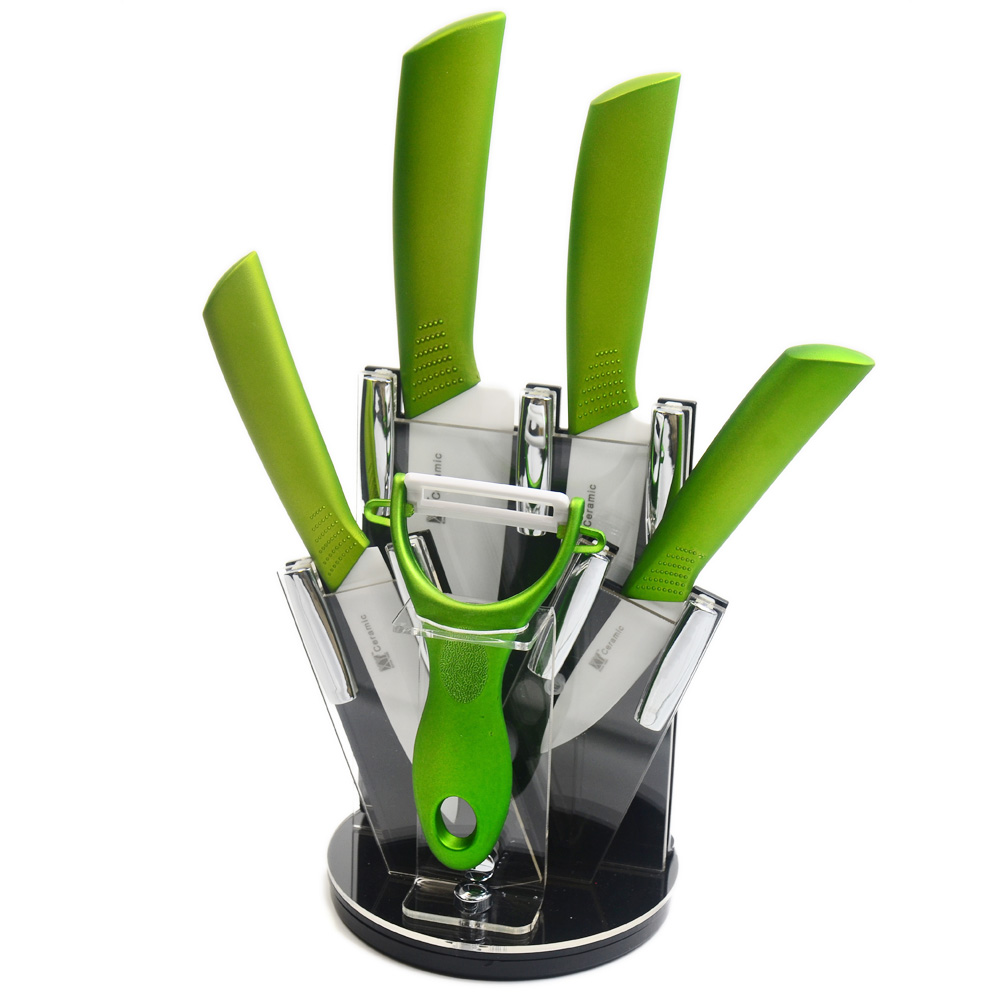 XYJ Brand Acrylic Knife Stand For 4 Ceramic Knives 1 Peeler Six Piece Set Cooking Tools