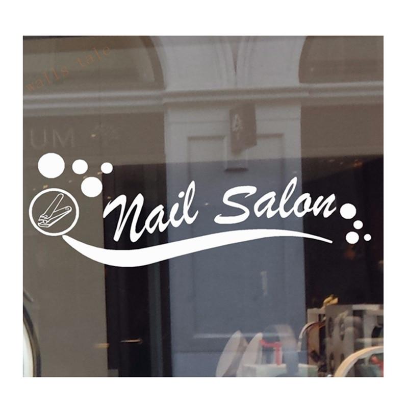 NAIL SALON VINYL DECAL STICKER BUSINESS SIGN MANICURE PEDICURE WINDOW WALL hearth