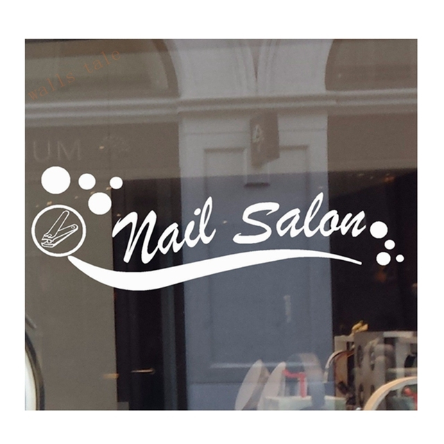 Nail salon vinyl decal sticker business sign manicure pedicure window wall