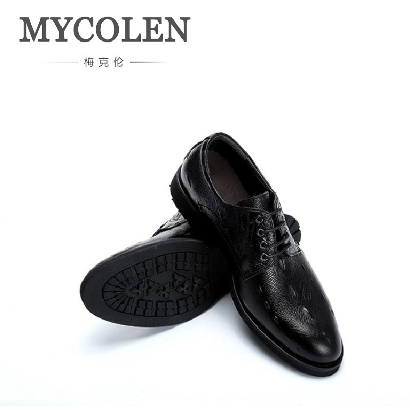 MYCOLEN Minimalist Design Leather Shoes Men Genuine Leather Breathable Lace Up Men Formal Dress Oxfords Party Office Wedding good quality men genuine leather shoes lace up men s oxfords flats wedding black brown formal shoes