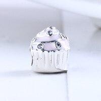 High Quality 925 Sterling Silver Mickey Birthday Cake Beads Fit Original DIY Pandora Charm Bracelet Authentic