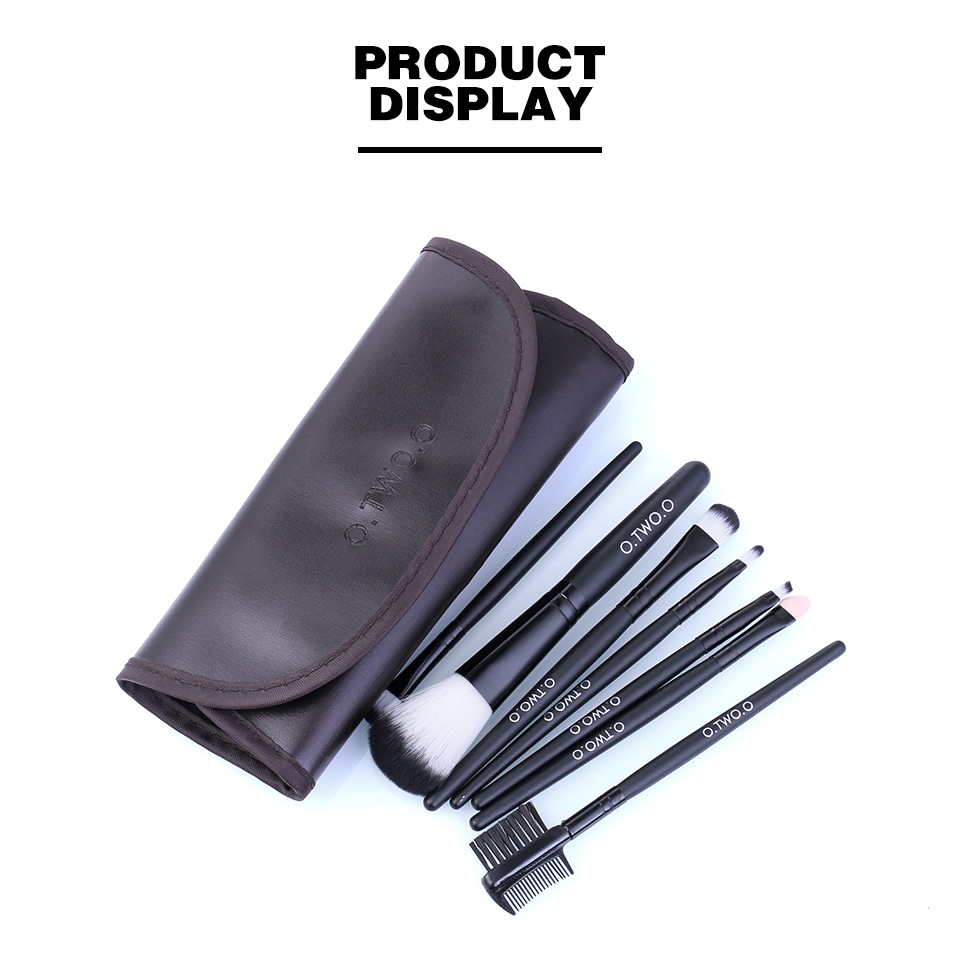 O.TWO.O Makeup Brushes Set 7pcs/lot Soft Synthetic Hair Blush Eyeshadow Lips Make Up Brush With Leather Case For Beginner Brush 10