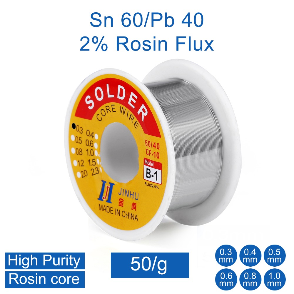50g 0.3mm 0.4mm 0.5mm 0.6mm 0.8mm 1.0mm 60/40 Tin Lead Rosin Core Solder Wire For Electrical Repair, IC Repair
