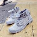 2017 novedades mujer zapatos de lona high top zapatos de lona de la moda de primavera cordones caminar zapatos planos ocasionales