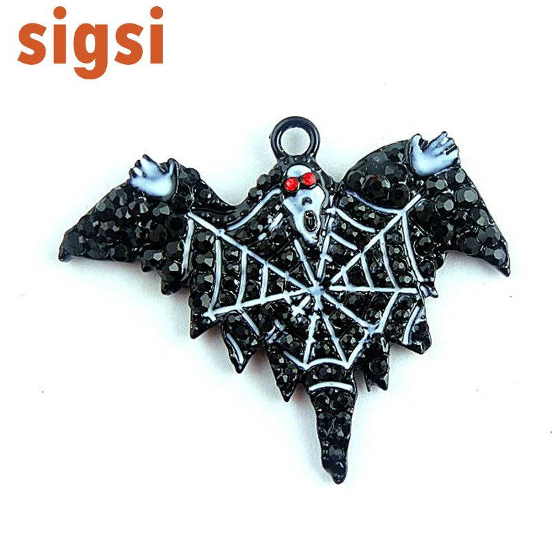 2017 hot selling black crystal ghost fancy brooch pin, safety halloween spider party broach