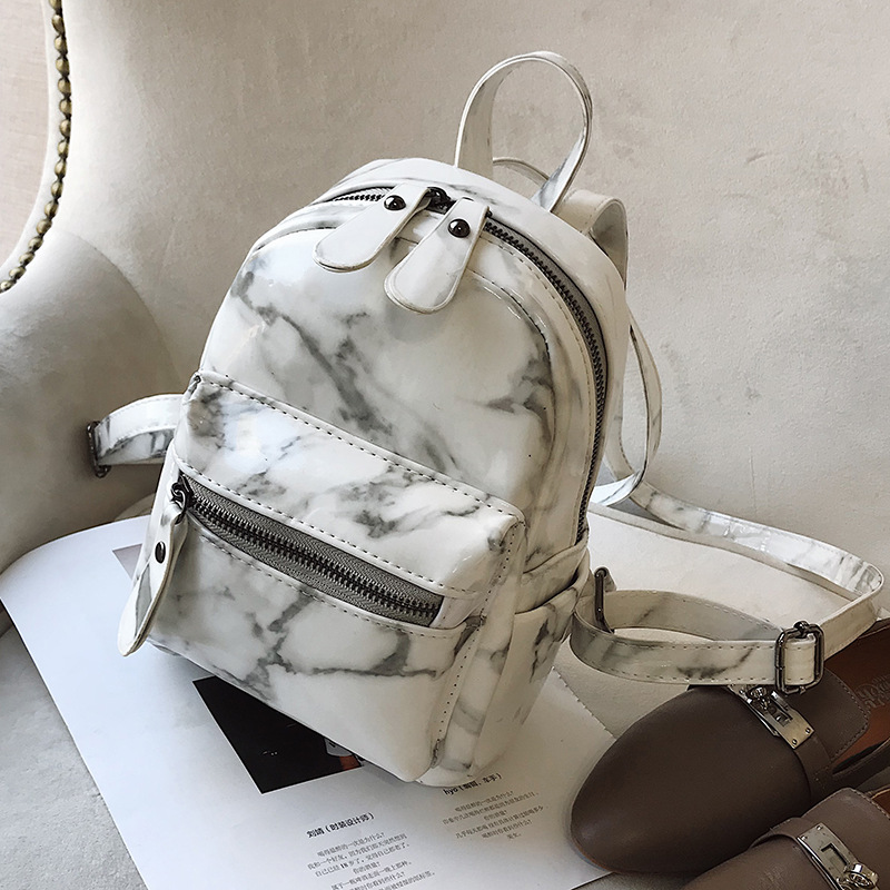 New 2018 Marble Pattern Shoulder Bag Female Korean Version Of The Summer New Personality Fashion Girl Small Bag Mini Backpack 2018 new korean version of the shoulder diagonal bag lady fashion women s bow hand packet