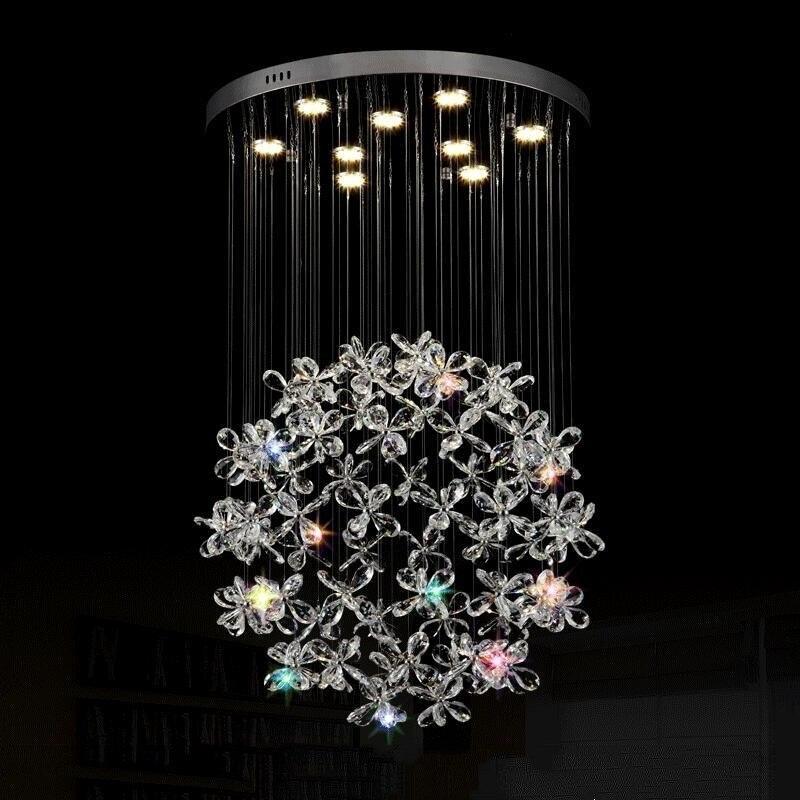Modern LED de Cristal Luzes do Candelabro Lâmpada Para Sala de estar Lustres de Cristal Lustre de Iluminação Pingente Pendurado Luminárias de Teto
