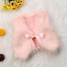 Осенний меховой жилет для маленьких девочек теплое зимнее пальто верхняя одежда, куртка топ с рукавами и бантом, однотонная милая детская одежда для девочек, От 6 месяцев до 5 лет