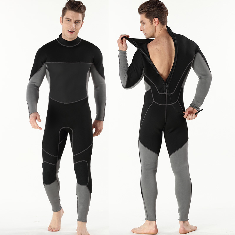 2017 new wheat Nadia diving suit long sleeved one piece UV sunscreen clothing 3mm sports snorkeling in Wetsuit from Sports Entertainment