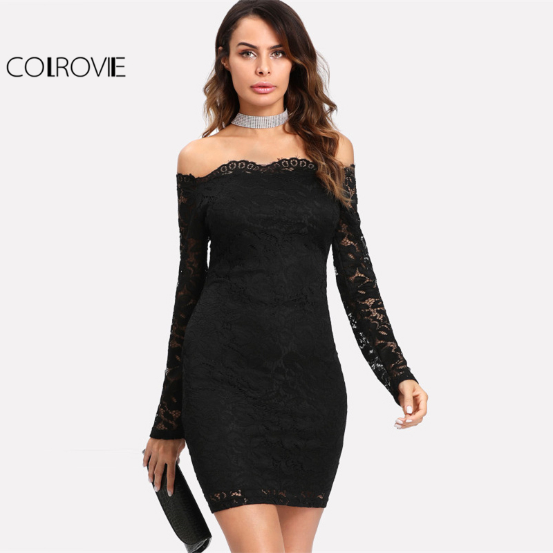 COLROVIE 2017 Party Dress Black Floral Lace Overlay Bardot Bodycon Dress Ladies Off The Shoulder Long Sleeve Scallop Dress