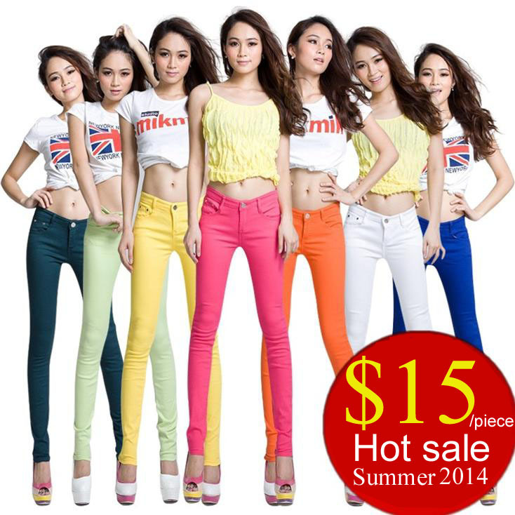 d720e1bf9 Wholesale Women Candy Color High Elastic Sexy Moleton Pants Skinny Slim  Denim Look Tight Trousers For Lady 11 Colors Summer 2014-in Pants   Capris  from ...