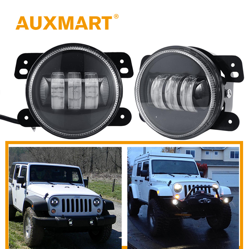 Auxmart LED Work Light for Jeep Wrangler JK 2 Door 2007~2017, Dodge Magnum Journey 2005~2008  LED fog Lamp 4 18W for Chrysler left hand a pillar swith panel pod kit with 4 led switch for jeep wrangler 2007 2015