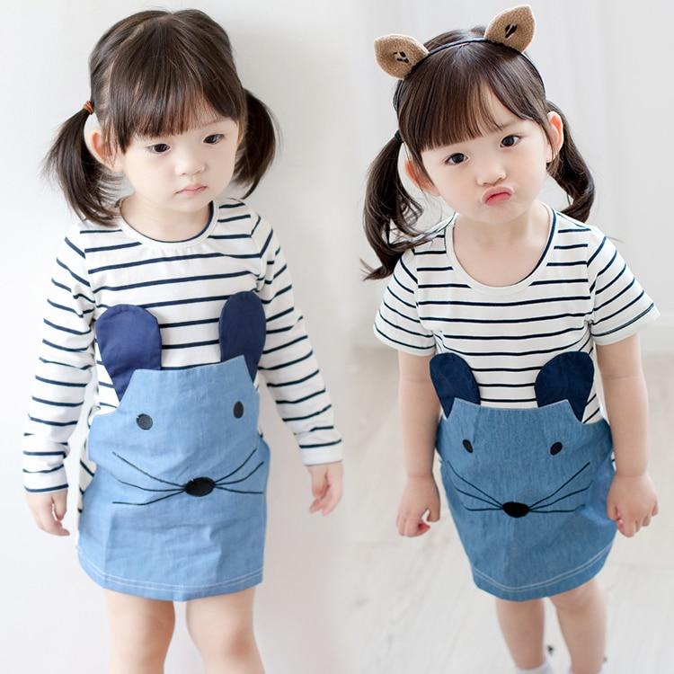 2017 Korean Baby Kids Cartoon Mouse Dress Little Girls