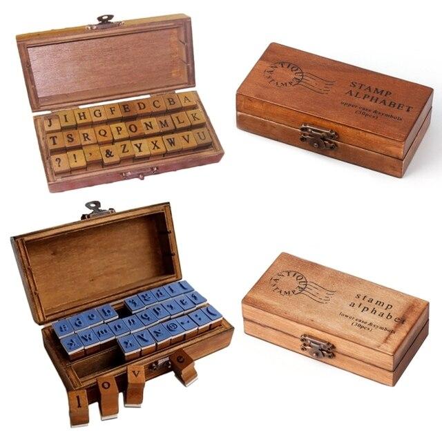 1set Romantic Handwriting Alphabet Letter Wooden Stamp Set Retro