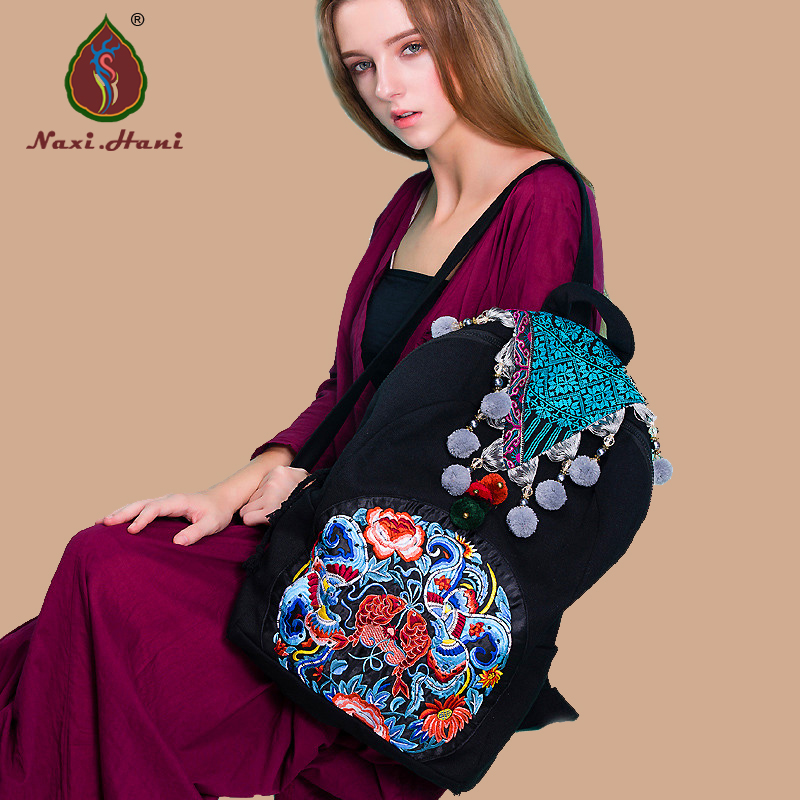 цены Naxi.Hani Exclusive original Ethnic embroidered women backpack Vintage handmade pompon black canvas casual Travel backpack