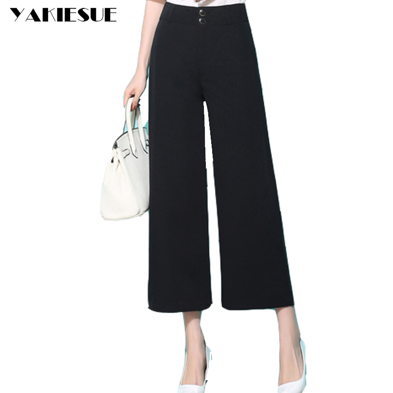 Trousers For Women 2017 New Fashion summer Black   Wide     Leg     Pants   S-4XL Large Size Ankle-Length Loose Female High Waist   Pants