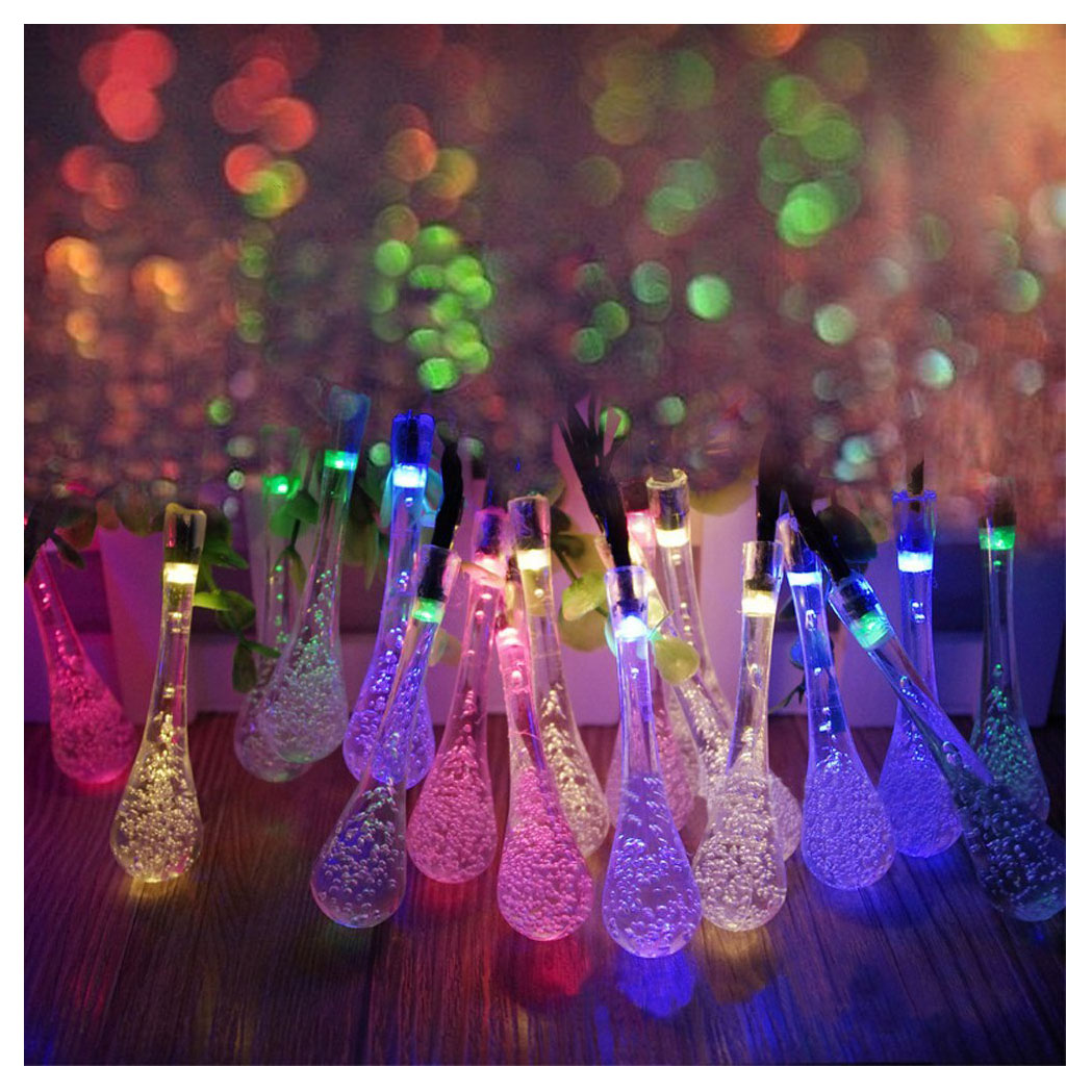 Long Droplets Solar LED String Lights with Garden Solar Panel, for Garden,Patio,Christmas Tree,Parties and Activities Decoration