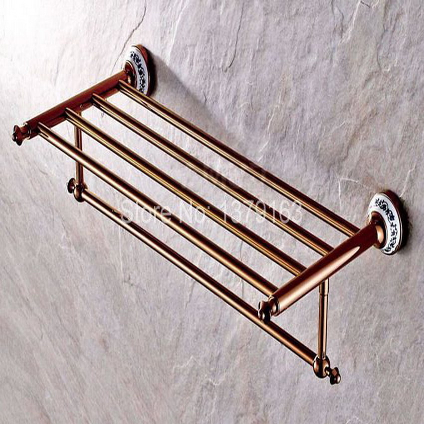 Luxury Rose Golden Copper Ceramic Base Wall Mounted Bathroom Large Towel Rail Bar Rack Holder Shelf Bathroom Accessory aba383 fully copper bathroom towel ring holder silver