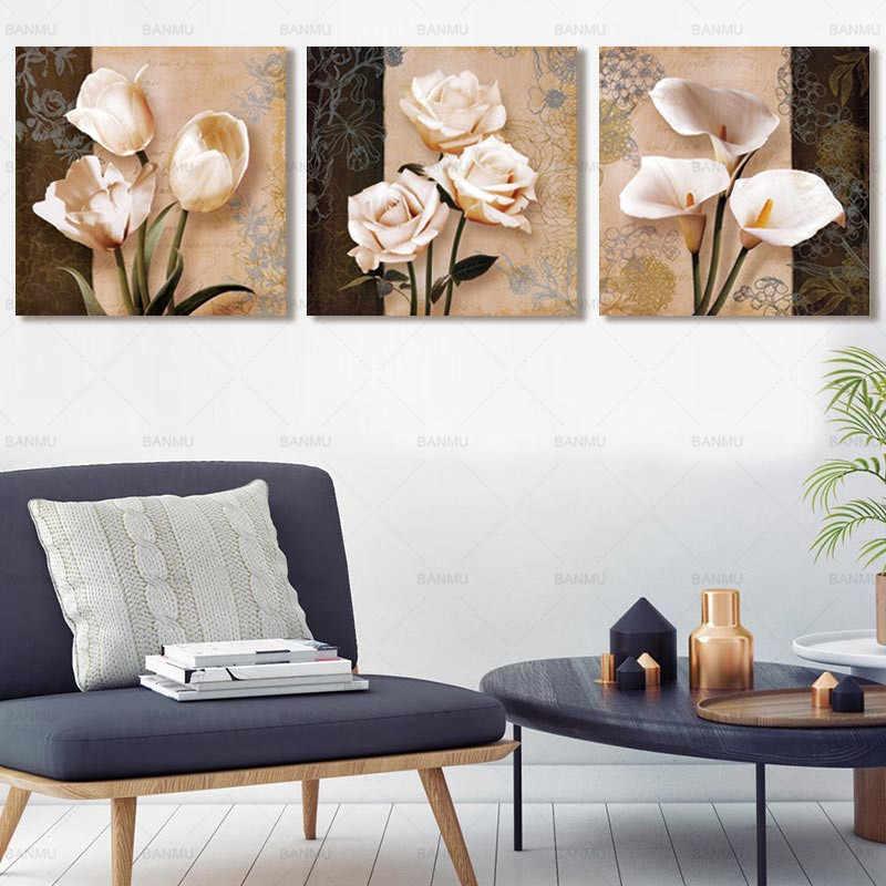 Плакат Холст Картина 3 шт. цветок Модульная картина на стене декоративные настенные картины для коридора без рамки домашний декор искусство