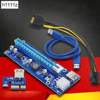 PCI-E Riser PCI E Express 1X to 16X Riser Card 60CM USB 3.0 PCI-E SATA to 6Pin Power Cable for BTC Bitcoin Mining Antminer Miner