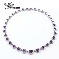 Elegant Luxury Genuine Heart Shape Amethyst Necklace 925 Sterling Silver Fine Gemstone Jewelry Engagement / Anniversary/ Wedding