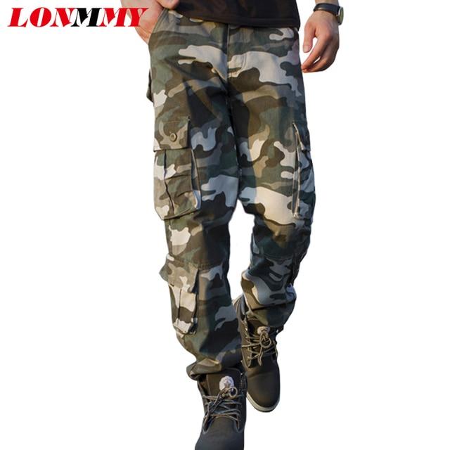LONMMY Камуфляжные штаны брюки-Карго мужчины Прямо Хлопок Военный стиль Army green Повседневные брюки 2016 Новый