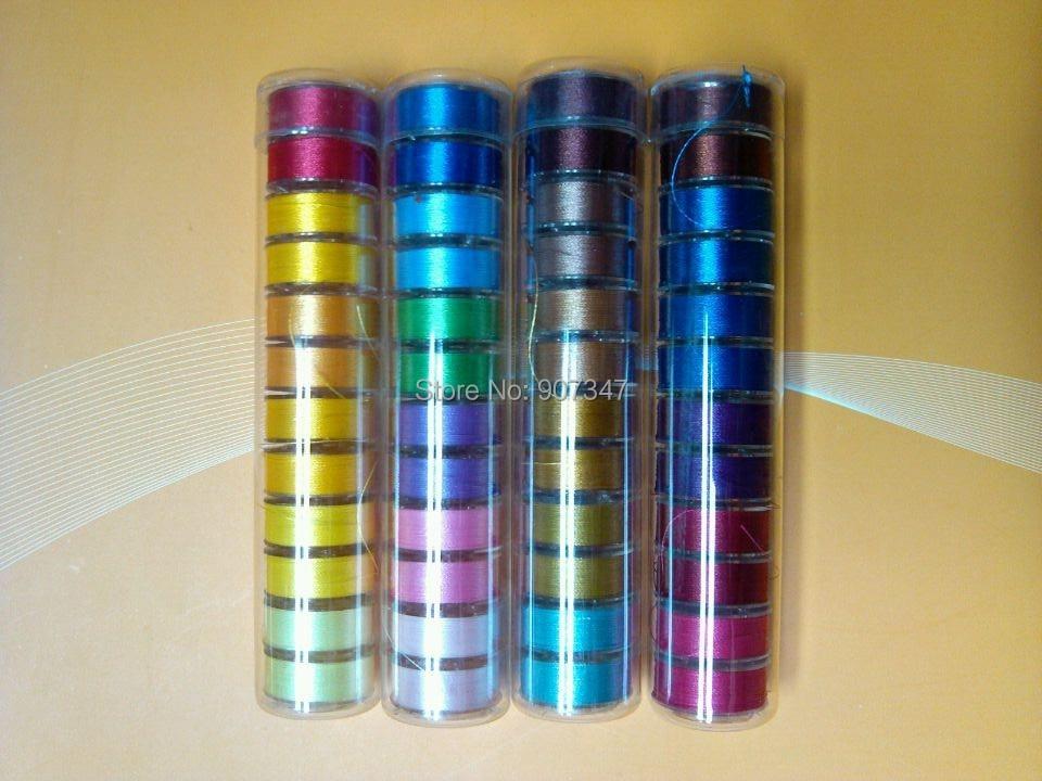 75D/2(60wt) цветная бобина с намотанной нитью Размер L пластиковая сторона, 12 бобин/трубка, 4 трубки/Лот