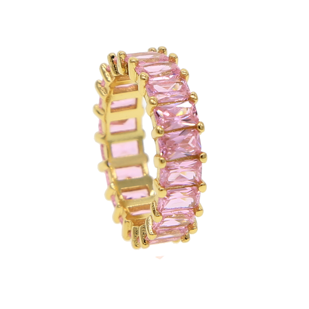 Pink & Blue cubic zirconia Baguette ring shinning delicate colorful rainbow cz band ring for women hot fashion elegant ring