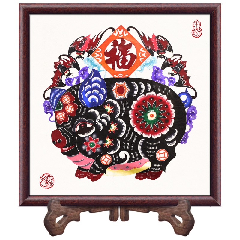 Chinese Handmade Paper Cut Features Crafts Lucky Pig Paper Cutting Vintage Wood Photo Frame Living Room Home Decor Wedding Gifts - 6