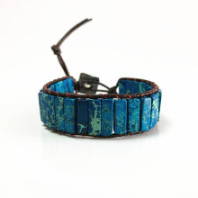 Unique Blue King Stone Bead Single Leather Wrap Bracelets Wholesale Handmade Bohemian Vintage Weaving Bracelet Wholesaler(China)