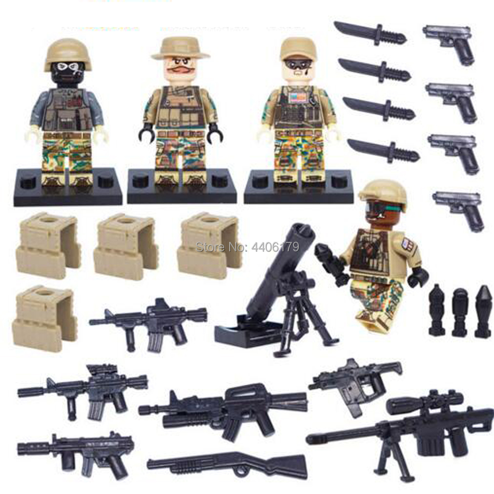 compatible LegoINGlys military WW2 US army soldier Building Blocks Desert eagle figures weapon guns brick toys for children gift in Blocks from Toys Hobbies